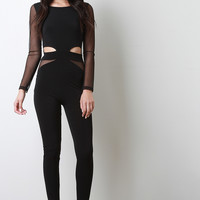 Mesh Accent Cut Out Jumpsuit