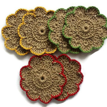 Set Of Six Handmade Hemp Coasters - Crochet Cozy Coasters - Wedding Gift