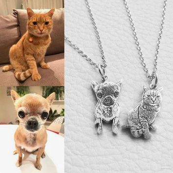 Custom Dog Necklace from Photo - Sterling Silver