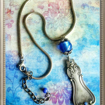 Handmade big statement  silver and blue spoon  pendant