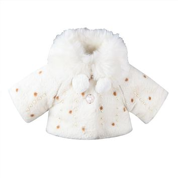 Hot sell Infant Kids Girls ClothesLong Sleeve Fur Warm Coat Toddler Baby Pearl Fleece Jacket Outwear Girls Clothing
