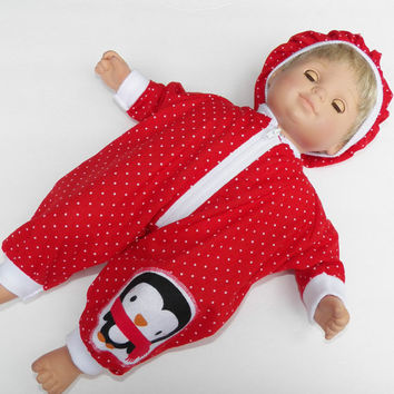 American Girl Bitty Baby Clothes 15 inch Doll Clothes Red Polka Dot Zip Up Christmas Penguin Pant Romper & Hat