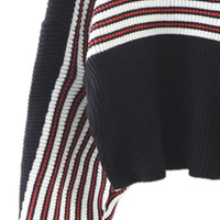 Black Stripe High Neck Batwing Sleeve Knit Sweater