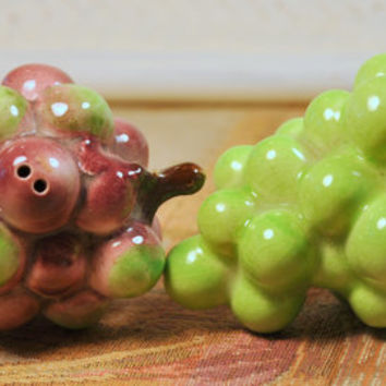 Vintage Salt and Pepper Shakers with Grape Design for your Retro Kitchen