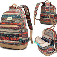 Kinmac 2015 New Design Bohemian Patten Laptop Backpack with Massage Cushion Straps for Laptop up to 15.6 Inch and Macbook Pro 15 Travel Backpack for Men and Women Student Outdoor Backpack