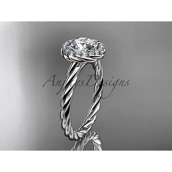 platinum halo rope diamond engagement ring RP8197