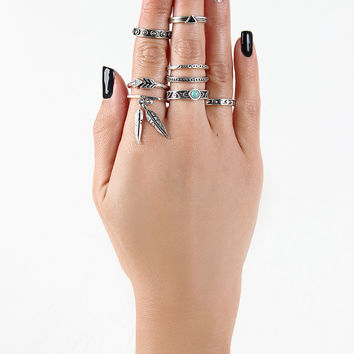 Feather Charm Heptagon Ring Set