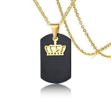 Customized Queen King Pendant Couples Necklace Personalized Stainless Steel Movable Choker Collares Men Women Love Jewelry