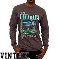 Seattle Seahawks Vintage Vertical Lines Long Sleeve T-Shirt - Charcoal
