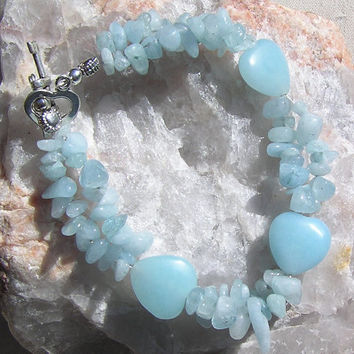 "Angelite & Aquamarine Crystal Gemstone Bracelet - ""Angel Heart"""