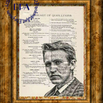 Inventor Thomas Edison Drawing Art - Vintage Dictionary Page Art Print Upcycled Page Print, Inventions
