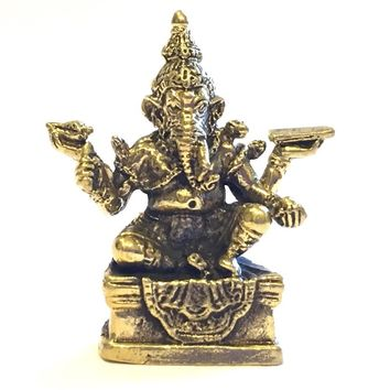 Ganesh Remover of Obstacles Hindu Bronze Miniature Statue 1H
