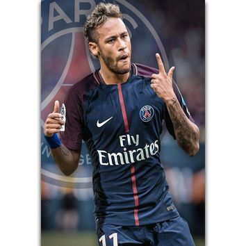 S549 Neymar Super Soccer Star Football Player Sport Wall Art Painting Print On Silk Canvas Poster Home Decoration