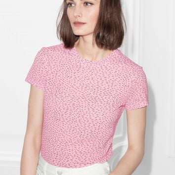 & Other Stories | Dash Print T-Shirt | Pink