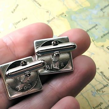 Groom Gift from Bride Engraved Map Cuff Links