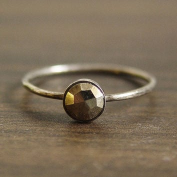 Geometric Round Pyrite Ring