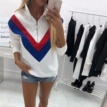 BEFORW 2018 Autumn Winter Fashion Women Patchwork Long Sleeve Hoodies Sweatshirt Clothes Casual Zipper Pullovers Sweatshirts