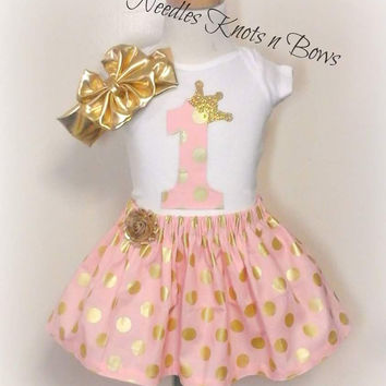 Girls Pink n Gold First Birthday Outfit, Girls 1st Birthday Outfit, Girls First Birthday Skirt Set, Girls 2nd Birthday Outfit, Pink and Gold Second Birthday Outfit