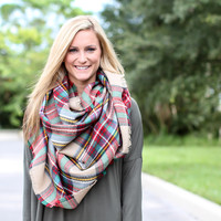 Plaid Blanket Scarf - Ivory