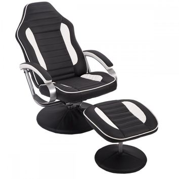 New Comfortable PU Recliner Chair Relax Racing Chair Gaming Chair w/ Footrest 81