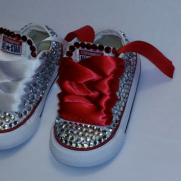 Low top handmade custom swarovski crystal embellished converse
