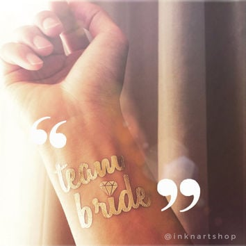 Gold Metallic 'Team Bride' Bachelorette Hen Party Diamond Favors custom temporary tattoo personalized gift Bridal Shower - InknArt wedding