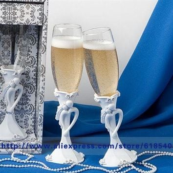 Free Shipping Bride & Groom Wedding Toasting Flutes Champagne Glasses Wedding Decoration Wedding Supplies All For Wedding