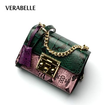 VERABELLE high quality split leather cowhide women serpentine crossbody messenger small bags panelled purse female chains straps