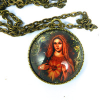 Sacred Heart Virgin Mary Glass Tile Pendant Necklace Ornate Double Sided Bird Pendant Tray Christian Jewlery Holy Mother