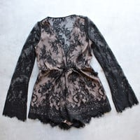 the jetset diaries - dulce deep plunge lace romper in black