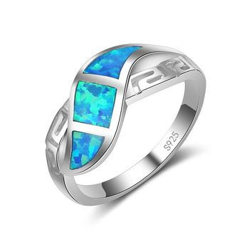 Jemmin 925 Sterling Silver Australia Fire Opal Ring Wedding Engagement Promise Statement Anniversary Ring Fine Jewelry