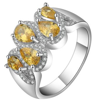 Bright Yellow Cubic Zirconia Water Drop Rings Design Silver Gold Filled Elegant Pave Wedding Bands Ring Women Unique Gift Ringen