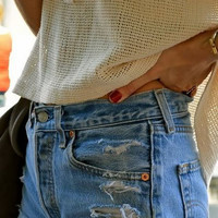 High-Waisted Distressed Jean Shorts- 31 inch waist