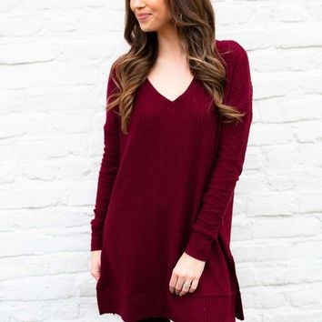 Wine and Dine Me Waffle Knit Tunic
