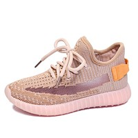 Yeezy Mesh Lace-Up Casual Toddler/Little/Big Kid Trendy School Sport Trainers Sneakers