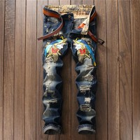 Ripped Holes Embroidery Pants Jeans [10766089987]
