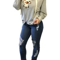 Fashion Casual Bandage Hoodies 2016 Autumn Winter Long Sleeve Lace Up Pullovers Top Women Deep V-neck Hooded Sweatershirt LX112