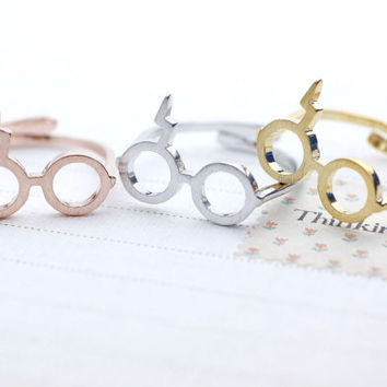 Cute Harry Potter Glasses Adjusted Ring in 3 colors