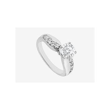 Diamond Engagement Ring with Cubic Zirconia in 14K White Gold 1.25 Carat TGW