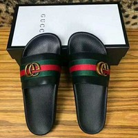 Gucci Black Shoes Slides Summer Beach Outdoor Casual Sandals Slippers House Flip Flops