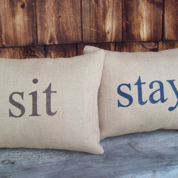 sit and stay Burlap Pillow Covers by North Country Comforts / Decorative Pillow Cover Set 12 x 16