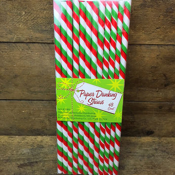 "Paper Party Striped Straws 7.75"" Red & Green Striped 48 Pcs"