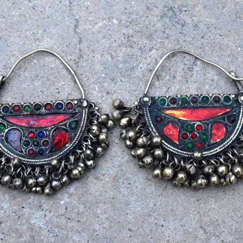 Afghan Kuchi Tribal Earrings,Crescent Ethnic Earrings,Afghan Jewelry,Antique,Belly Dance Earring,Hippie,Bohemian Earrings,Gypsy Boho Earring