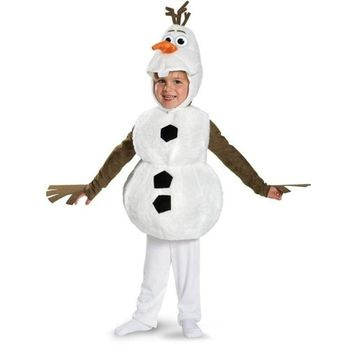 Cool Deluxe Plush Adorable Child Olaf Halloween Cosplay Costume For Toddler Kids Favorite Cartoon Movie Snowman Party Dress-upAT_93_12