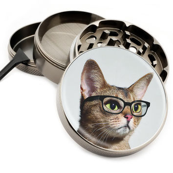 "Cat With Glasses - 2.5"" Premium Zinc Herb Grinder - Custom Designed"