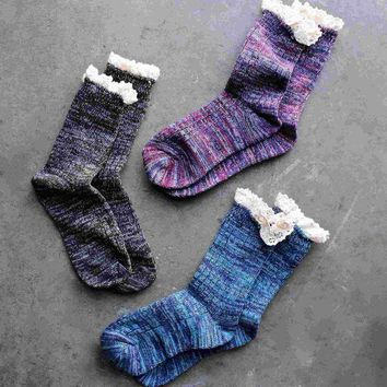 ONETOW marled crew socks with lace (6 colors) Day-First?