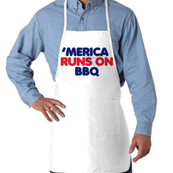 Merica Runs on BBQ Apron For July 4th Cookout | Team Merica Patriotic Apron Cook Out Fourth of July Shirts Tank Tops and more