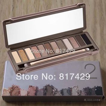 Nake Makeup Palette 2 12 Colors nk2 Glitter Matte Eyeshadow palettes with Brush Cosmetics Make up set  Free Shipping