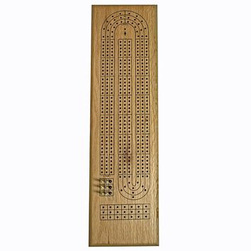 Classic Cribbage Set - Solid Oak Wood Continuous 3 Track Board with Metal Pegs
