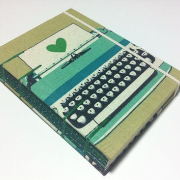 LOVE Diary - Handmade Fabric Journal Notebook - Coptic Stitched - Small